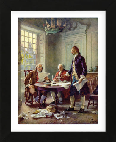 Writing the Declaration of Independence, 1776 (Framed) -  Jean Leon Gerome Ferris - McGaw Graphics