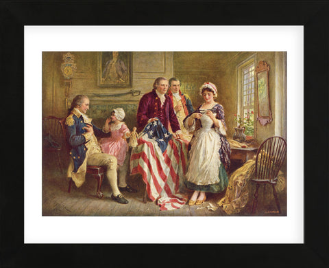 Betsy Ross, 1777 (Framed) -  Jean Leon Gerome Ferris - McGaw Graphics