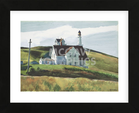 Hill and Houses, Cape Elizabeth, Maine, 1927  (Framed) -  Edward Hopper - McGaw Graphics