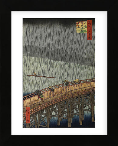 Sudden Shower (Framed) -  Ando Hiroshige - McGaw Graphics