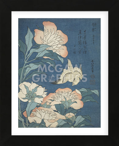Peonies and Canary (Framed) -  Katsushika Hokusai - McGaw Graphics