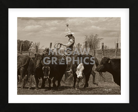 Mancos Roping (Framed) -  Barry Hart - McGaw Graphics