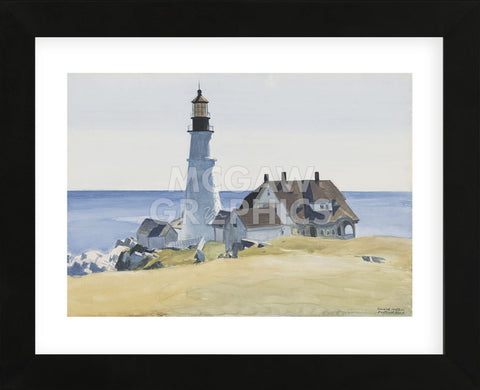 Lighthouse and Buildings, Portland Head, 1927  (Framed) -  Edward Hopper - McGaw Graphics