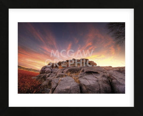 Rock Wall Sunset (Framed) -  Bob Larson - McGaw Graphics
