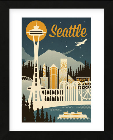 Seattle (Framed) -  Lantern Press - McGaw Graphics