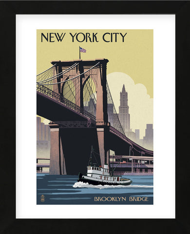 New York City - Brooklyn Bridge (Framed) -  Lantern Press - McGaw Graphics