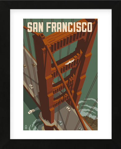 San Francisco - Golden Gate Bridge (Framed) -  Lantern Press - McGaw Graphics