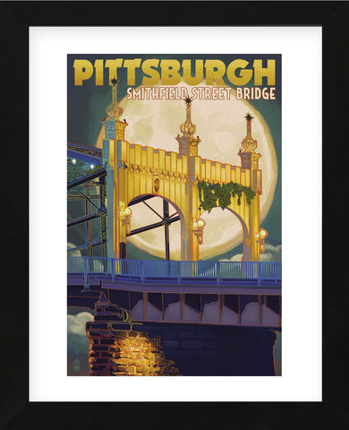 Pittsburgh - Smithfield Street Bridge (Framed) -  Lantern Press - McGaw Graphics