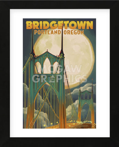 Bridgetown Portland Oregon (Framed) -  Lantern Press - McGaw Graphics