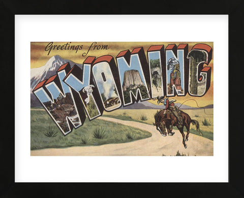 Greetings from Wyoming (Framed) -  Lantern Press - McGaw Graphics