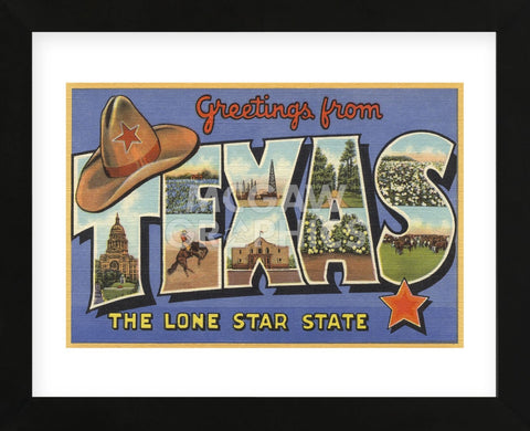 Greetings from Texas (Framed) -  Lantern Press - McGaw Graphics