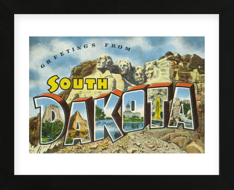 Greetings from South Dakota (Framed) -  Lantern Press - McGaw Graphics