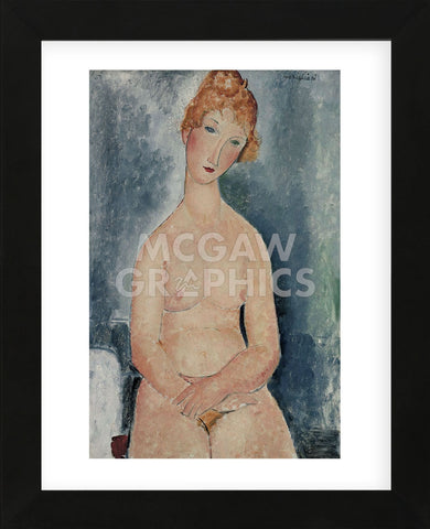 Seated Nude, ca. 1918  (Framed) -  Amedeo Modigliani - McGaw Graphics