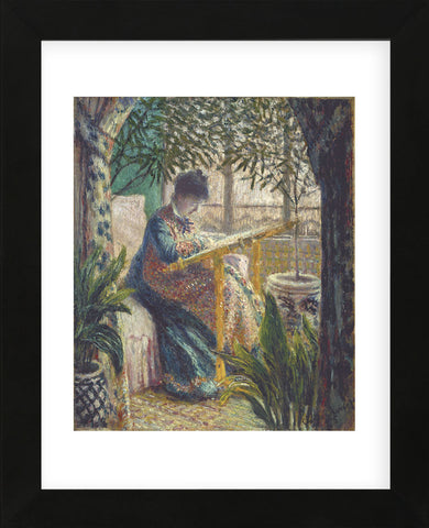 Madame Monet Embroidering, 1875  (Framed) -  Claude Monet - McGaw Graphics