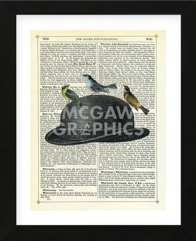 Bowler Hat with Birds (Framed) -  Marion McConaghie - McGaw Graphics