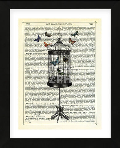 Bird Cage & Butterflies (Framed) -  Marion McConaghie - McGaw Graphics