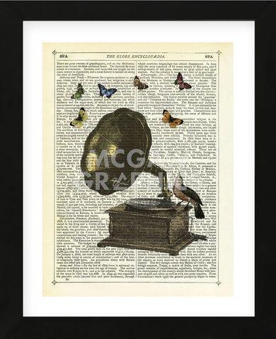 Gramophone, Bird & Butterflies (Framed) -  Marion McConaghie - McGaw Graphics
