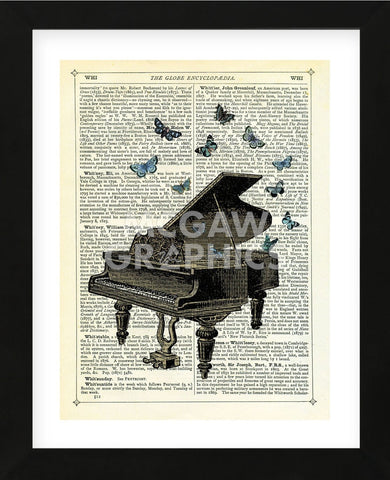 Piano & Butterflies (Framed) -  Marion McConaghie - McGaw Graphics