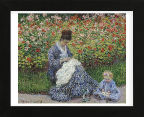 Camille Monet and a Child in the Artist's Garden in Argenteuil, 1875 (Framed)