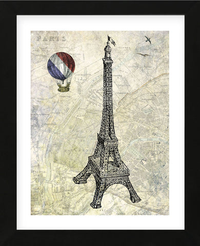 Eiffel Map (Framed) -  Marion McConaghie - McGaw Graphics