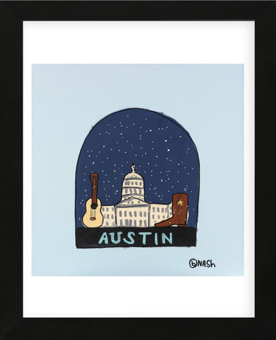 Austin Snow Globe (Framed) -  Brian Nash - McGaw Graphics