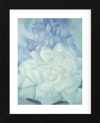 White Rose with Larkspur No. 2, 1927  (Framed) -  Georgia O'Keeffe - McGaw Graphics