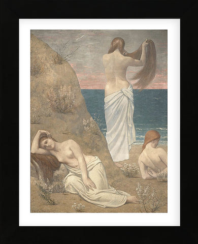 Young Women at the Sea Shore (petite version) (Framed) -  Pierre Puvis de Chavannes - McGaw Graphics