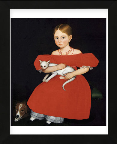 Girl in Red Dress with Cat and Dog, 1830-1835 (Framed) -  Ammi Phillips - McGaw Graphics