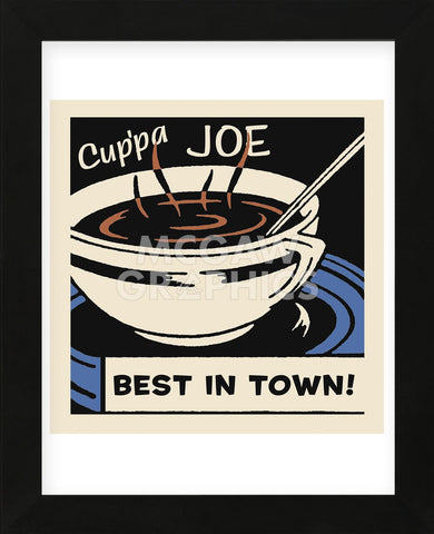 Cup'pa Joe Best in Town  (Framed) -  Retro Series - McGaw Graphics
