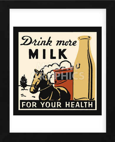 Drink more Milk for your Health  (Framed) -  Retro Series - McGaw Graphics