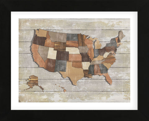 Wood Map (Framed) -  Sparx Studio - McGaw Graphics