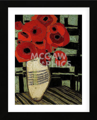Poppies on Table with Chairs (Framed) -  Karen Tusinski - McGaw Graphics