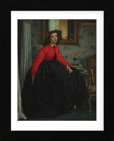 Portrait of Mademoiselle, called Girl with Red Vest, February 1864 (Framed) -  Jacques-Joseph Tissot - McGaw Graphics