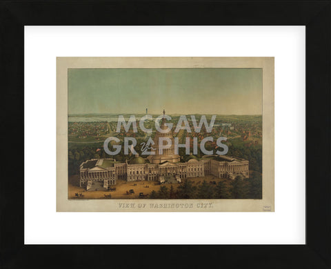 View of Washington City, c. 1869 (Framed) -  Vintage Reproduction - McGaw Graphics
