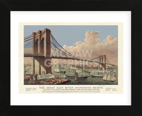 The Great East River Suspension Bridge, 1877 (Framed) -  Vintage Reproduction - McGaw Graphics
