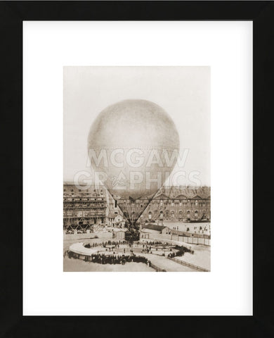 Mr. Henry Giffard's Balloon at the Tuilleries, 1878 (Framed) -  Vintage Photography - McGaw Graphics