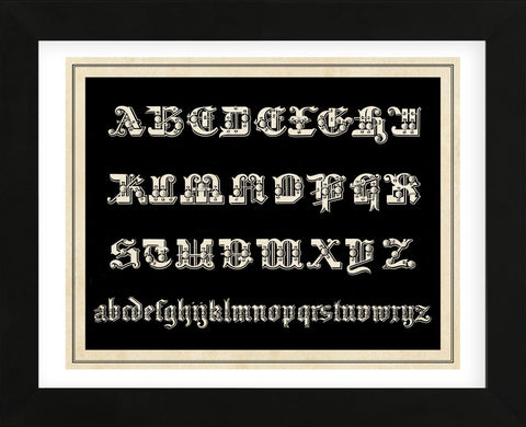 Ornamental French Alphabet (black) (Framed) -  Vintage Reproduction - McGaw Graphics