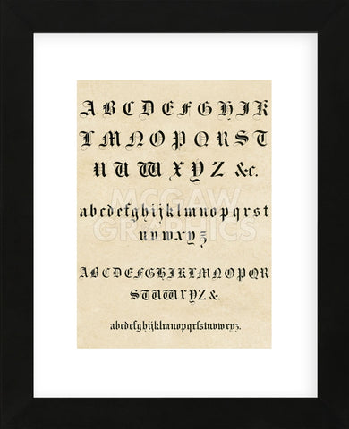 Vintage Reproduction - Old English Text Alphabet