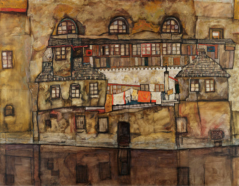 Egon Schiele - House Wall on the River, 1915