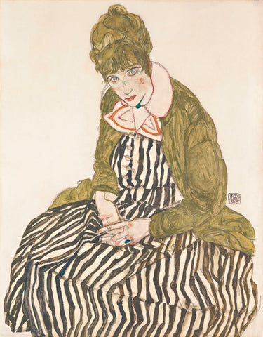 Edith with Striped Dress, Sitting, 1915 -  Egon Schiele - McGaw Graphics