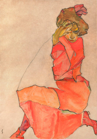 Kneeling Female in Orange-Red Dress, 1910 -  Egon Schiele - McGaw Graphics