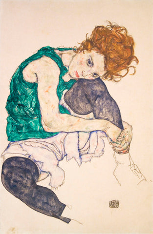 Egon Schiele - Seated Woman with Legs Drawn Up (Adele Herms), 1917