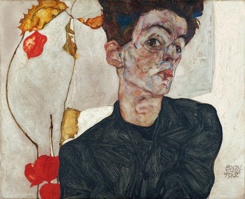 Self-Portrait with Physalis, 1912 -  Egon Schiele - McGaw Graphics