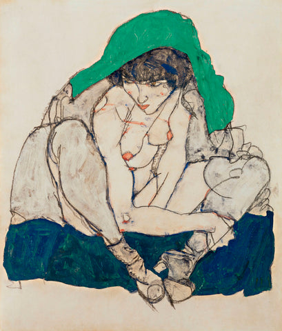 Egon Schiele - Crouching Woman with Green Headscarf
