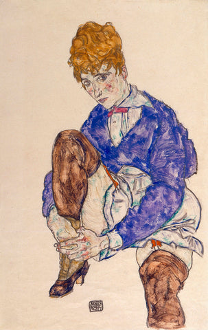 Egon Schiele - Portrait of the Artist's Wife Seated, Holding Her Right Leg