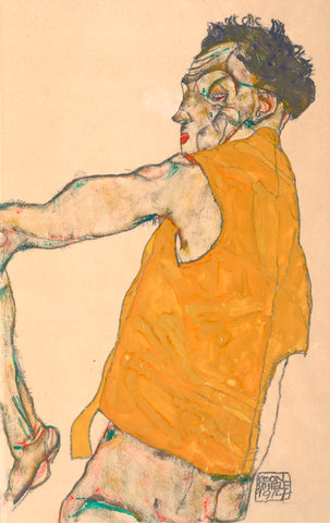 Self-Portrait in Yellow Vest, 1914 -  Egon Schiele - McGaw Graphics