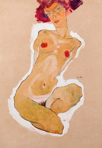 Squatting Female Nude -  Egon Schiele - McGaw Graphics