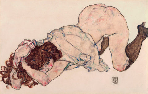 Egon Schiele - Kneeling Girl, Resting on Both Elbows