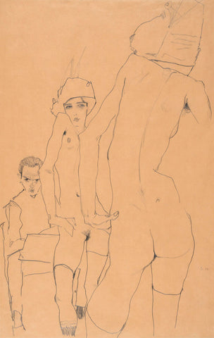 Schiele with Nude Model before the Mirror, 1910 -  Egon Schiele - McGaw Graphics