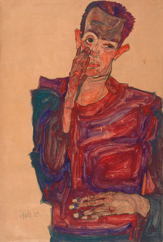 Egon Schiele - Self-Portrait with Eyelid Pulled Down, 1910